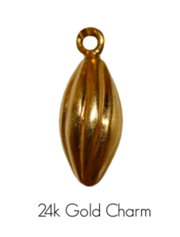 HANDCRAFTED CACAO ALMOND GOLD CHARM